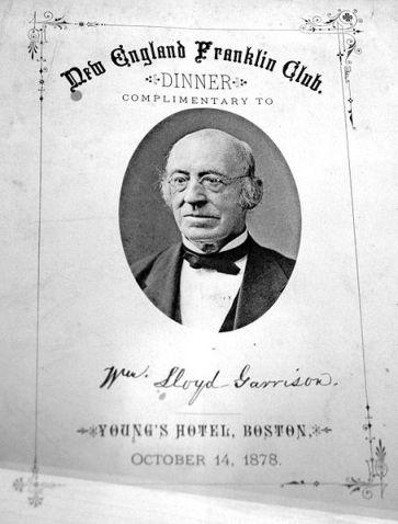 Menu donné en l'honneur de Garrison à l'hôtel Young's.