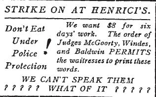Tract distribué devant chez Henrici's en 1914.