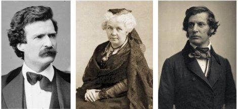 Mark Twain, Elizabeth Cady Stanton et Charles Sumner.