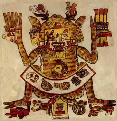 Divinité aztèque tenant un épi de maïs. On pense aujourd'hui que la consommation de maïs sur le continent américain remonte à 5 300 ans avant notre ère, et que le popcorn fut connu dès cette époque.